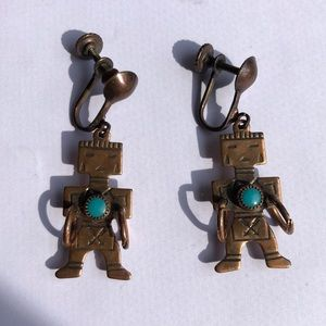 VINTAGE COPPER TURQUOISE KACHINA EARRINGS